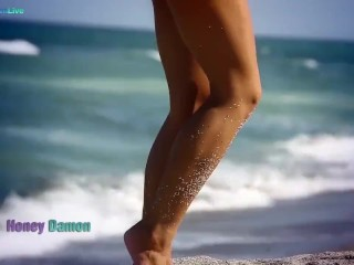 Sexylicious Honey Demon getting naked at the beach