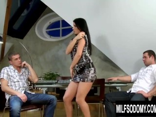 MILF Seductress Melissa Ria Invites Two Cocks to Fill Her Ass and Pussy
