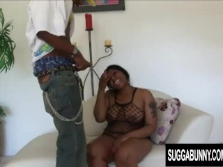 Chubby Ebony Gorgeous Glamour Gets a Rough Pounding by a Black Cock