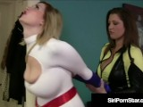 Power Grrl Siri Vs Evil StrapOn Villain Dayna Vendetta!