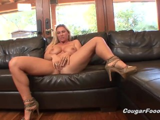 Busty MILF blonde gets doggystyled and creampied