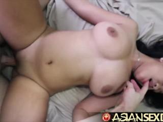 Asian Sex Diary – White cock fucks Asian babe with sensational tits