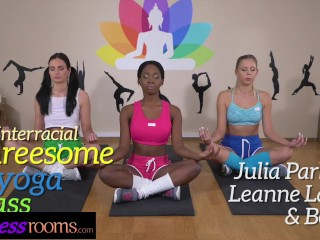 Fitness Rooms Interracial threesome in yoga class with young women in lycra
