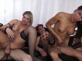 LETSDOEIT - Horny Couple Has a Hot Threesome with Steamy Brunette Tranny Girl