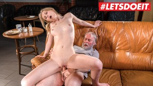 LETSDOEIT - TEEN Waitress Gets Her Tight Pussy Fucked By Sugar Daddy!