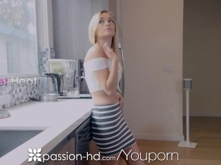 PASSION-HD Tight shaved pussy DRILLED by big dick