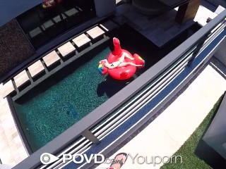 POVD Outdoor pool FUCK with TASTY mouth creampie