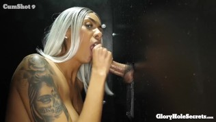 TALL WIFE SUCKS 12 STRANGERS COCKS AT THE GLORYHOLE