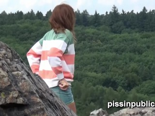 With no other option these girls piss on the rocks and mountains