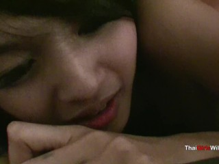 Small little Thai beautiful earns smashed and slurps shaft