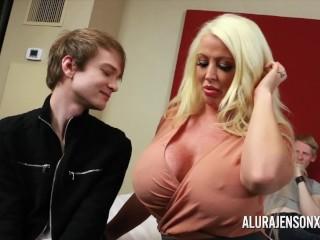 Cuckold threesome with big tit pornstar Alura Jenson