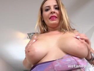 EXTREME closeup pussy play for blonde with big tits - Cherry Pussy