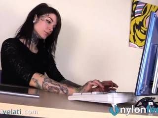 A look at your Tattoed secretary feet in pantyhose from under the table