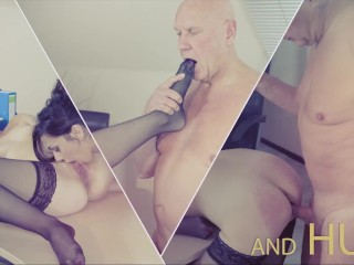 Old manager at the office fucks his two beautiful personal assistants pussy