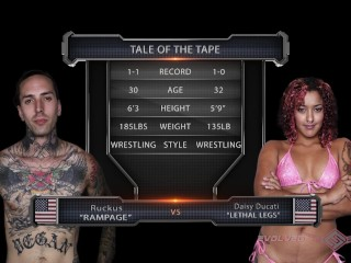 Ruckus and Daisy Ducati fuck in a Prison Rules mixed gender match