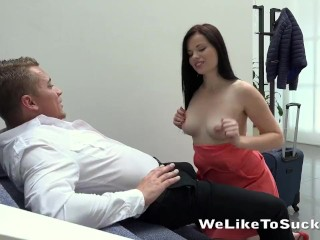 Pretty Girl Sucks Cock And Eats Cum
