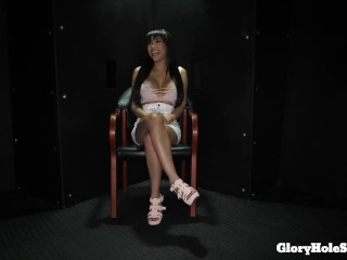 Gia Milana Sucks off group of strangers and eats their cum