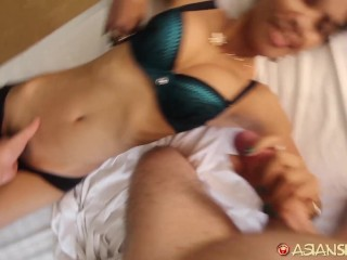 Asian Sex Diary - Big white cock unloads deep in young Asian cutie