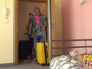 Fake Hostel Italian blonde with big takes takes two big cocks