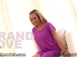 Big tit blonde MILF Brandi Love deepthroat and swallow