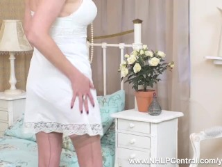 Sexy Milf Karina Currie masturbates in vintage lingerie nylons and leather stilettos