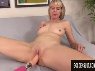 The Adult Video Experience Presents Naughty British Grandma Jamie Foster Enjoys an Orgasmic Machine Fucking