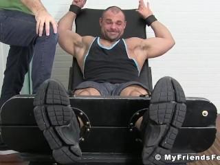 Hunk in bondage Jaxx tormented feet muscle tickling fetish