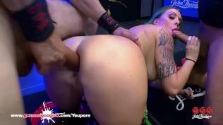 Busty Tattooed babe Phoenix Madina Swallows lots of Sperm