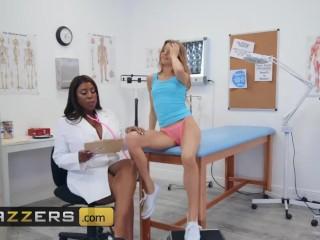 BRAZZERS - Milf BBW Doctor Maserati dominates pale petite white girl