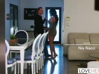 LoveHerFeet - Ebony Big Tit Nia Nacci Fucks A Big White Cock