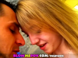 Blow Me POV - Young Blonde Teen Sucks & Blows BF's Dick