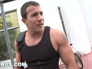 BAIT BUS - Muscle Hunk Gets His Dick Sucked By A Gay And He Is NOT Pleased