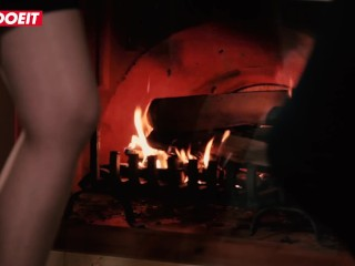LETSDOEIT - Busty Hot Blonde Takes A Big Cock By The Fireplace