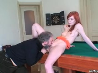 Grandpa able to taste the pussy of young neighbor at last!