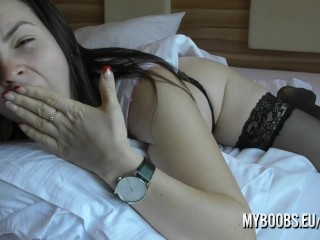 Waking up with Talia Amanda in the morning and her big natural boobs are the star of this early morning boner show