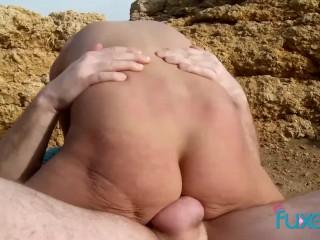 Blonde MILF outdoor sex