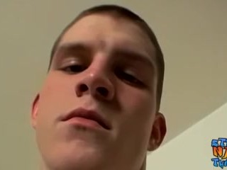 Straight young man jerks off and cums all alone
