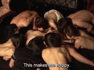 JAV swingers club harem sex party for new member Subtitled