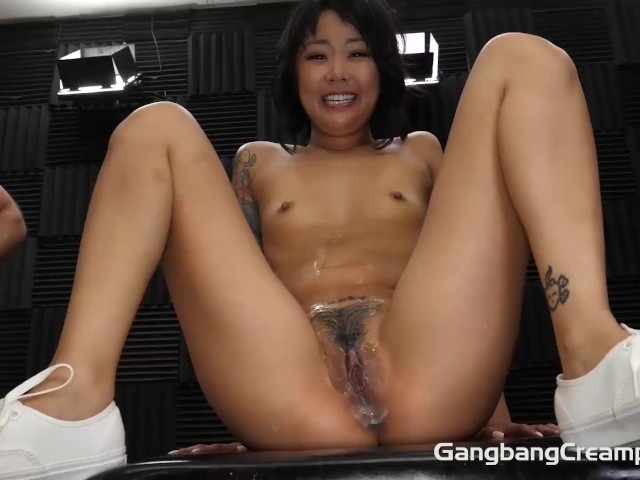 Tiny Asian Creampie Gangbang