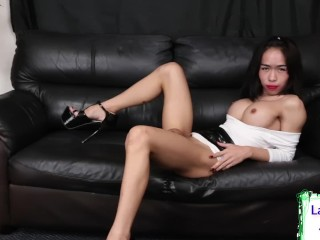 Busty cute ladyboy jerks off alone