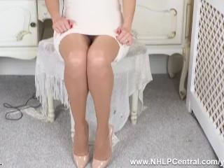 Busty blonde Amber Jayne masturbates with huge vibrator in sheer tan pantyhose