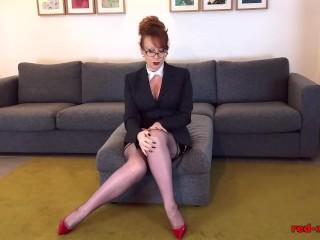 Red stuffs her panties inside herself then masturbates
