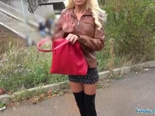 Public Agent Tattooed busty German blonde MILF fucked hard against a tree