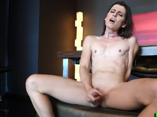 The Adult Video Experience Presents Skinny shemale gets to fucking dildo