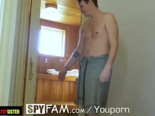 SPYFAM Steam Room Step Sister TASTES Big Dick