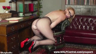Jerk off instructor Kiana Kraze strips down to just heels pantyhose and wanks off with you
