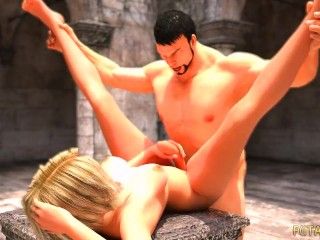 3D Futa chained and fucked by brutal warrior in fantasy backyard