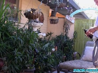 Young cutie jerks off and cums in the back yard