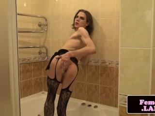 Cute trap masturbating in the bathtub
