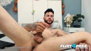 Flirt4Free Model Jack Tattoo - Bearded Latino Stud Plays w His Tight Ass